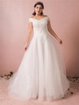 Off the Shoulder Tule Plus Size Wedding Dress
