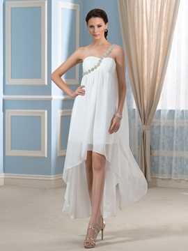 One Shoulder High Low Wedding Dress