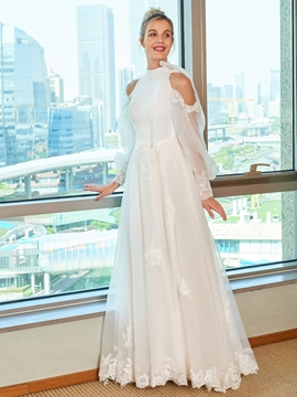 Open Shoulder A Line Wedding Dress