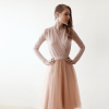 Pink blush midi tulle dress with long sleeves 1068 SALE