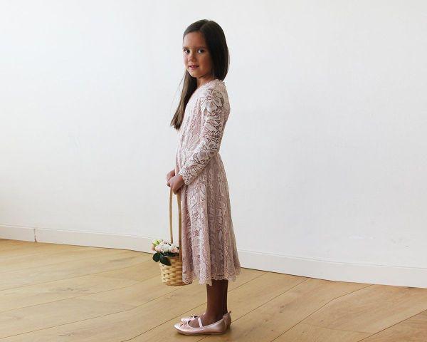 Pink lace long sleeves Flower Girls Short Dress 5045