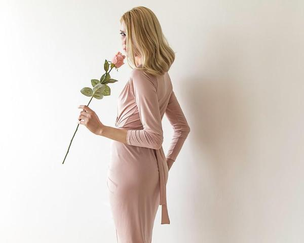 Pink long sleeves tulip wrap maxi dress SALE 1034