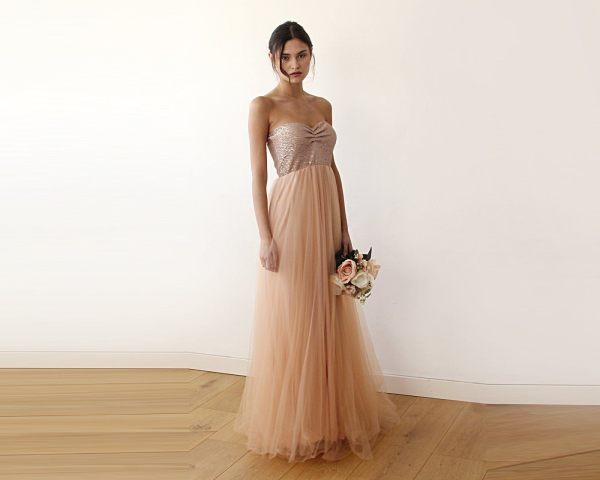 Pink sequin strapless maxi tulle dress 1059