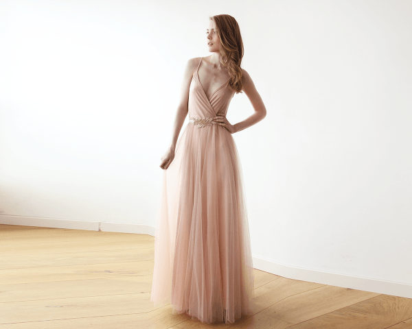 Pink wrap straps maxi tulle dress 1053