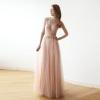Pink wrap straps maxi tulle dress 1053
