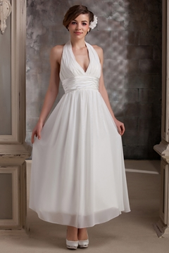 Plain Empire Halter Ankle-Length Daria's Wedding Dress