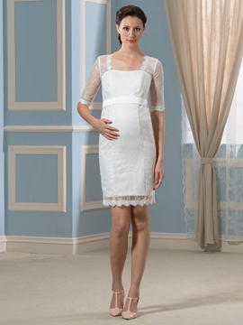 Pretty Square Neckline Half Sleeves Lace Short Maternity Wedding Dress