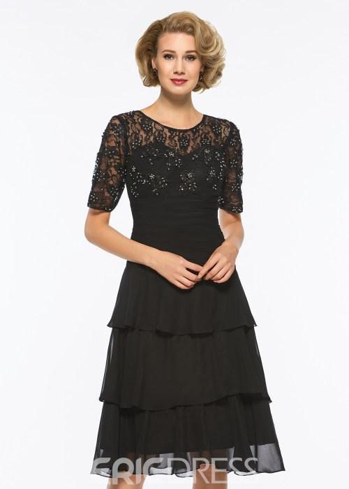 Scoop A Line Half Sleeves Beaded Knee Length Mother of The Bride Dress