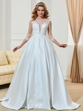 Scoop Appliques 3-4 Length Sleeves Ball Gown Wedding Dress
