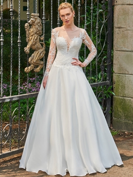 Scoop Ball Gown Long Sleeves Appliques Backless Wedding Dress