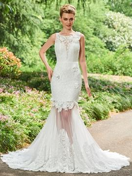 Scoop Lace Mermaid Backless Wedding Dress