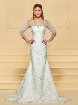 Scoop Mermaid Lace Wedding Dress