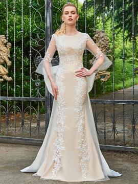 Scoop Sheath 3-4 Length Sleeves Appliques Wedding Dress