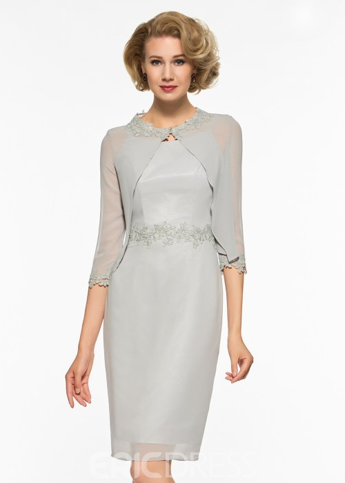 Scoop Sheath Knee Length Appliques Mother Of The Bride Dress