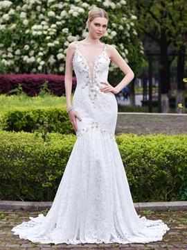 Sexy Deep V-Neck Backless Lace Wedding Dress