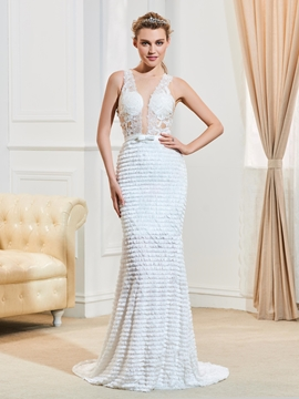 Sexy Illusion Neckline Backless Mermaid Lace Wedding Dress