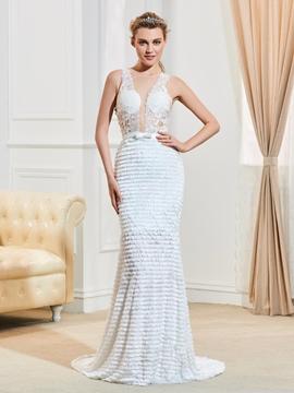 Sexy Illusion Neckline Backless Mermaid Lace Wedding Dress