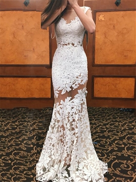 Sexy Illusion Neckline Long Sheath Lace Wedding Dress
