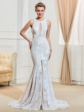 Sexy Jewel Backless Lace Mermaid Wedding Dress