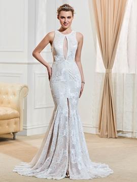 Sexy Jewel Backless Lace Mermaid Wedding Dress