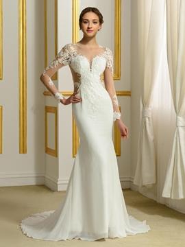 Sexy Long Sleeves Sheer Neck Mermaid Backless Wedding Dress