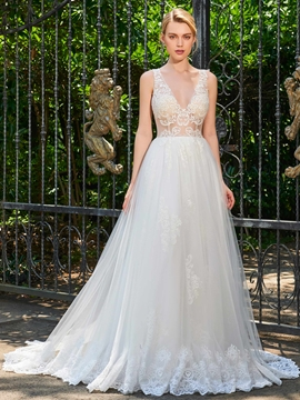 Sexy V Neck A Line Appliques Tulle Wedding Dress