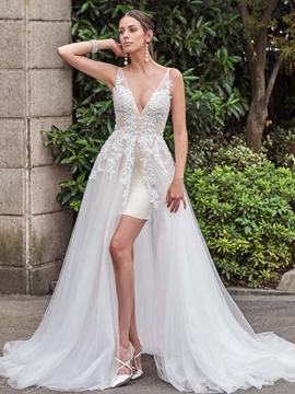 Sexy V Neck Appliques A Line Backless Wedding Dress