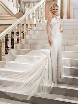 Sexy V Neck Mermaid Backless Wedding Dress