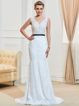 Sexy V Neck Sweep Train Backless Mermaid Lace Wedding Dress