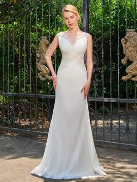 Sheath Lace Appliques Sweep Train Wedding Dress