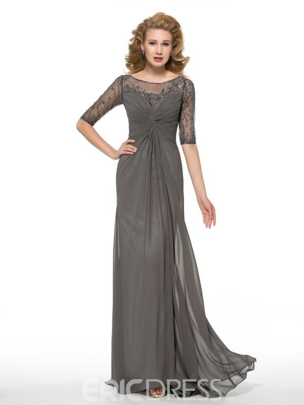 Sheath Long Bateau Half Sleeves Mother of the Bride Dress