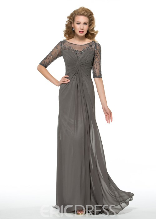 Sheath Long Bateau Half Sleeves Mother of the Bride Dress