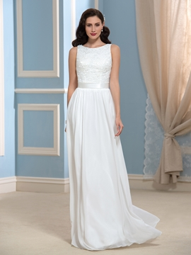 Simple A Line Lace Long Wedding Dress