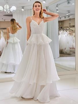 Spaghetti Straps Ball Gown Wedding Dress