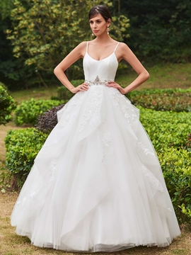 Spaghetti Straps Beaded Appliques Ball Gown Wedding Dress