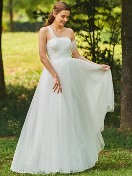 Strapless A Line Tulle Wedding Dress