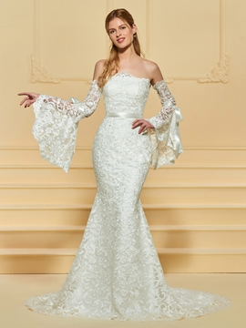 Strapless Backless Mermaid Lace Wedding Dress
