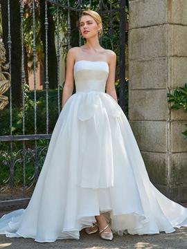 Strapless Ball Gown Asymmetry Wedding Dress