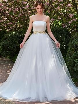 Strapless Ball Gown Beaded Ball Gown Wedding Dress