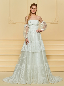Strapless Lace A Line Wedding Dress
