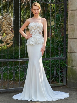 Strapless Mermaid Appliques Wedding Dress