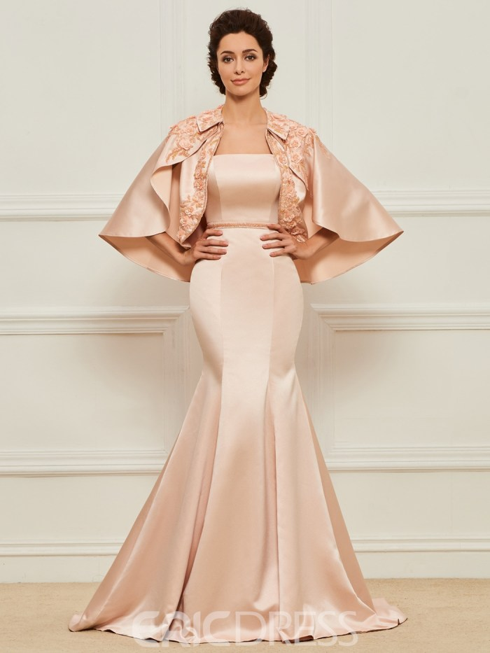 Strapless Mermaid Matte Satin Mother of the Bride Dress