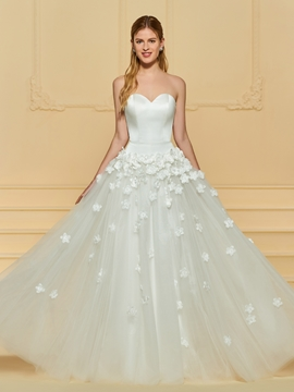 Sweetheart A Line Tulle 3D Floral Wedding Dress