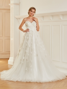 Sweetheart Ball Gown Flowers Tulle Wedding Dress