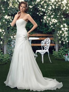 Sweetheart Beading Court Train Sheath-Column Wedding Dress