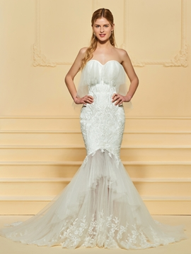 Sweetheart Tulle Mermaid Wedding Dress