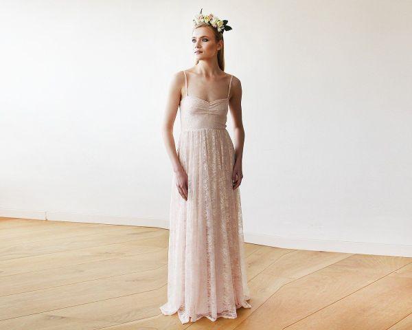 Sweetheart neckline pastel pink lace maxi dress 1080