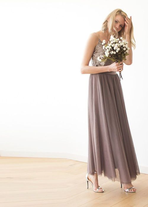 Taupe tulle bridesmaids maxi skirt SALE 3005