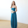 Teal-Blue Strapless Maxi Gown 1115