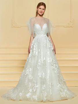 Tulle Short Sleeves A Line Wedding Dress